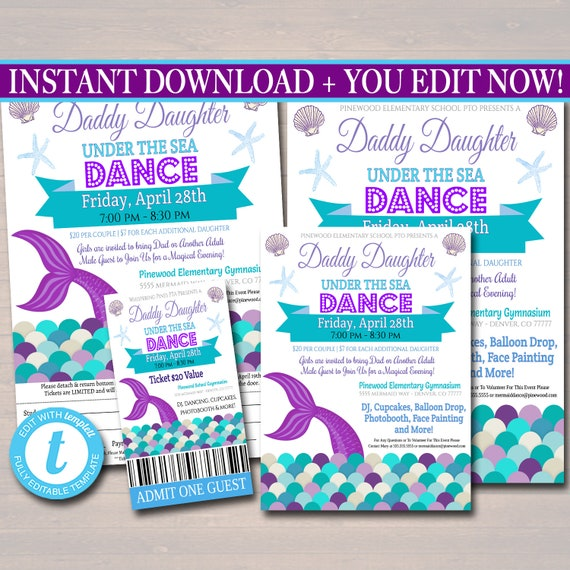 School Mermaid Dance Flyer Party Invite Church Community Event pto pta EDITABLE Daddy Daughter Under The Sea Themed Dance INSTANT DOWNLOAD