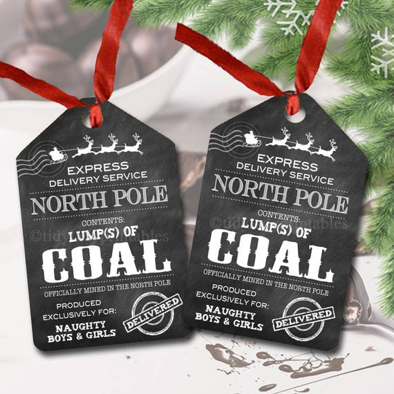Lump Of Coal For Christmas.Lump Of Coal North Pole Delivery Tags Printable Label Santa S Naughty List Stocking Stuffer Bath Bomb Soap Chocolate Favor Instant Download