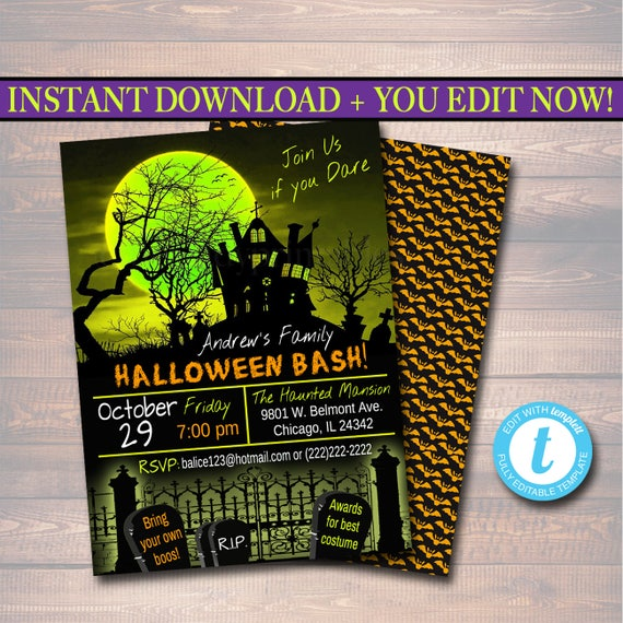 Printable Halloween Invitation Haunted House Costume Party