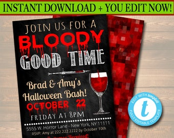 Printable Halloween Invitation, Haunted House, Costume Party Invitation, Scary Adult Party Invite, Halloween, Join Us For a Bloody Good Time