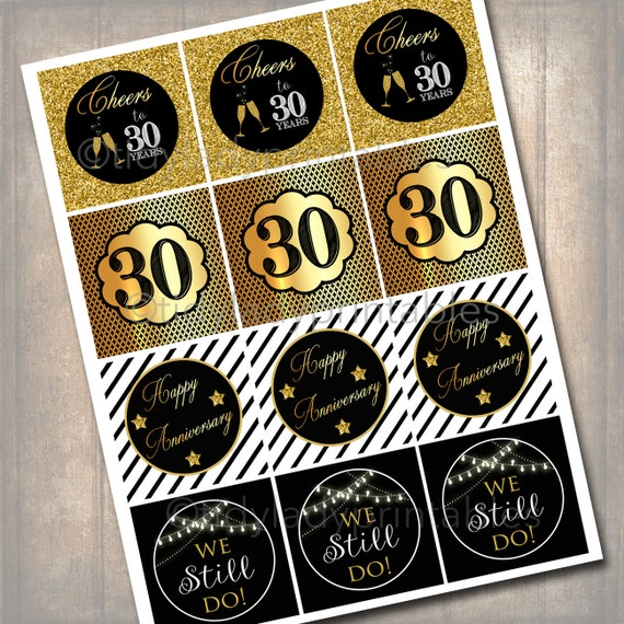 30th Anniversary Cupcake Toppers Printable Cheers To Thirty Etsy