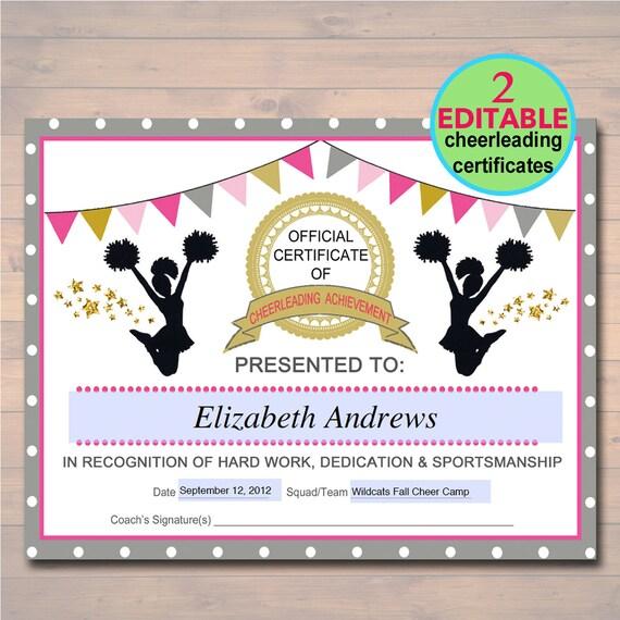 Editable Cheerleader Certificate Instant Download Etsy