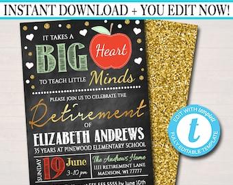 Editable Teacher Retirement Invitation Chalkboard Printable Digital Teacher Invite Retirement Party, Takes a Big Heart to Teach Little Minds