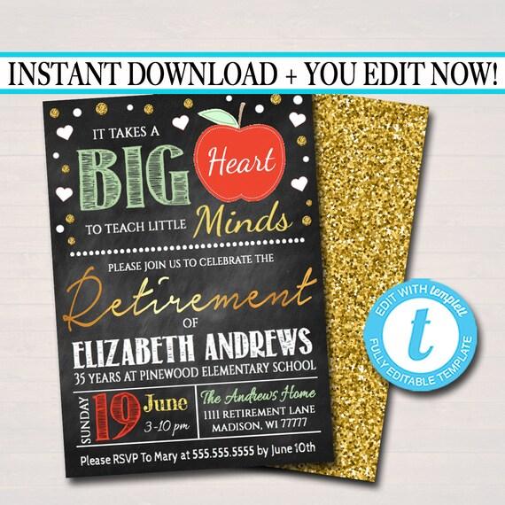 editable teacher retirement invitation chalkboard printable etsy