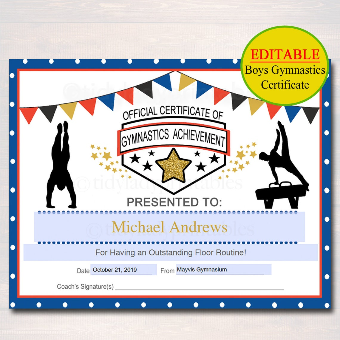 Editable Gymnastics Certificates Instant Download Gymnastics Etsy