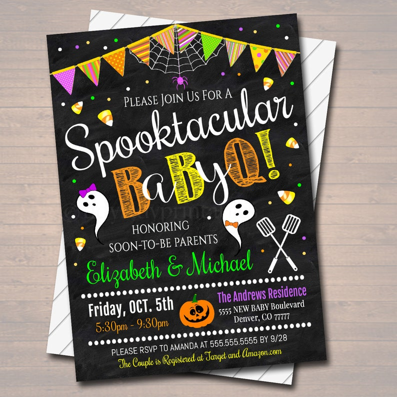 Boo-y or Gouhl Halloween Baby Shower Couples Party Invite INSTANT DOWNLOAD EDITABLE Halloween Baby-Q Gender Reveal Party Invitation