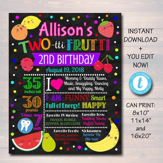 Editable Two Tti Frutti Birthday Chalkboard Poster Girls Toddler 2 Year Old Party Digital Banner Tutti Fruti Summer Party Instant Download By Tidylady Printables Catch My Party