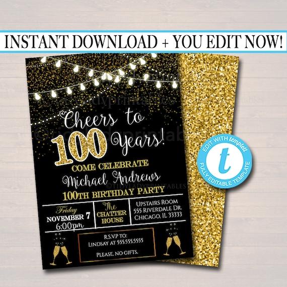 editable 100th party invitation birthday printable cheers to etsy
