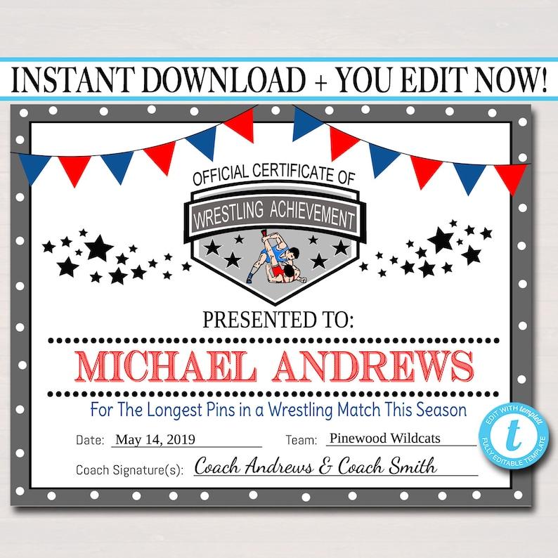 Editable Wrestling Award Certificates Instant Download Etsy