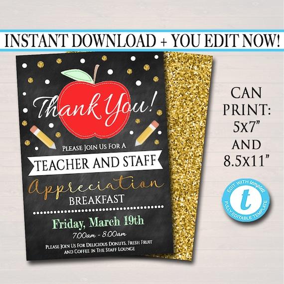 Editable Teacher Appreciation Staff Invitation Chalkboard Etsy