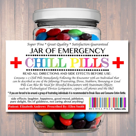picture relating to Printable Chill Pill Label known as EDITABLE Chill Capsules Label, Amusing Gag Present Knowledgeable
