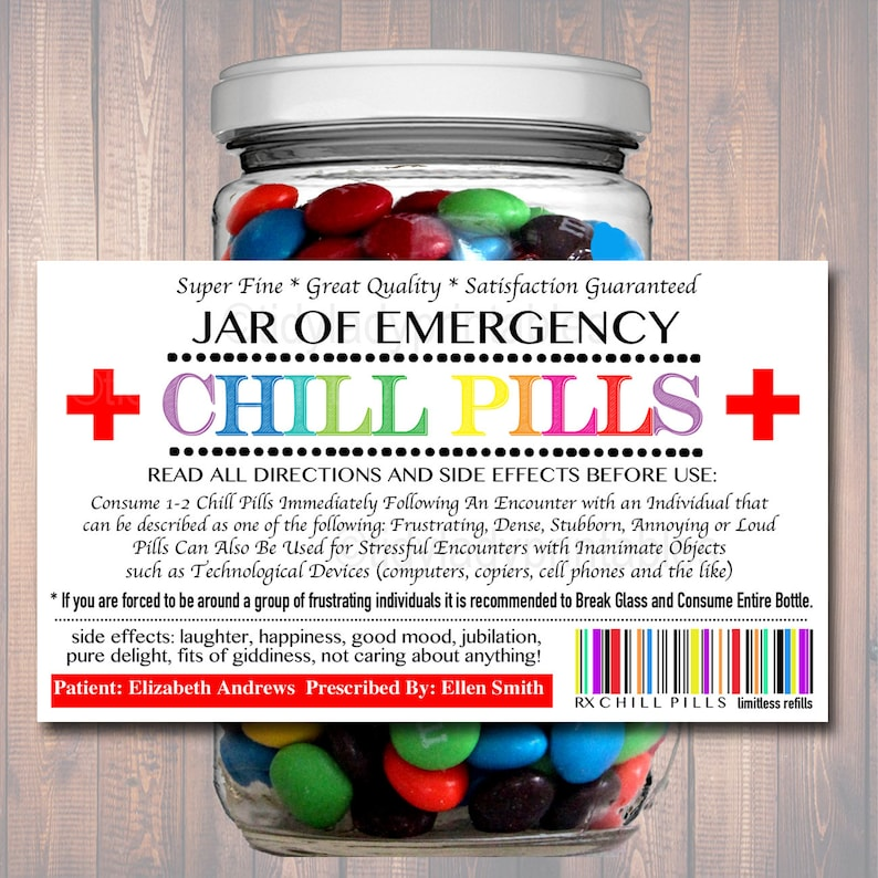 picture regarding Chill Pill Printable Label called EDITABLE Chill Capsules Label, Amusing Gag Present Experienced Business office Reward, Xmas Reward, Birthday Present, Manager Reward, Cowork Present Printable Label