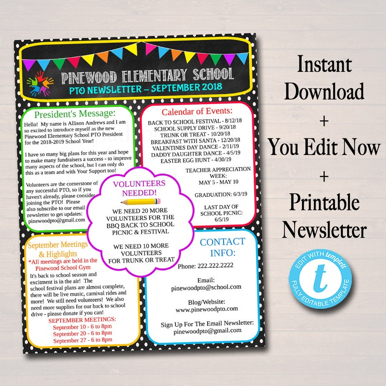 graphic regarding Printable Newsletter Template identified as EDITABLE PTO PTA E-newsletter Flyer, Printable Handout, University Yr Fundraiser Celebration Volunteer, Convention Plan Seasonal Organizer Template