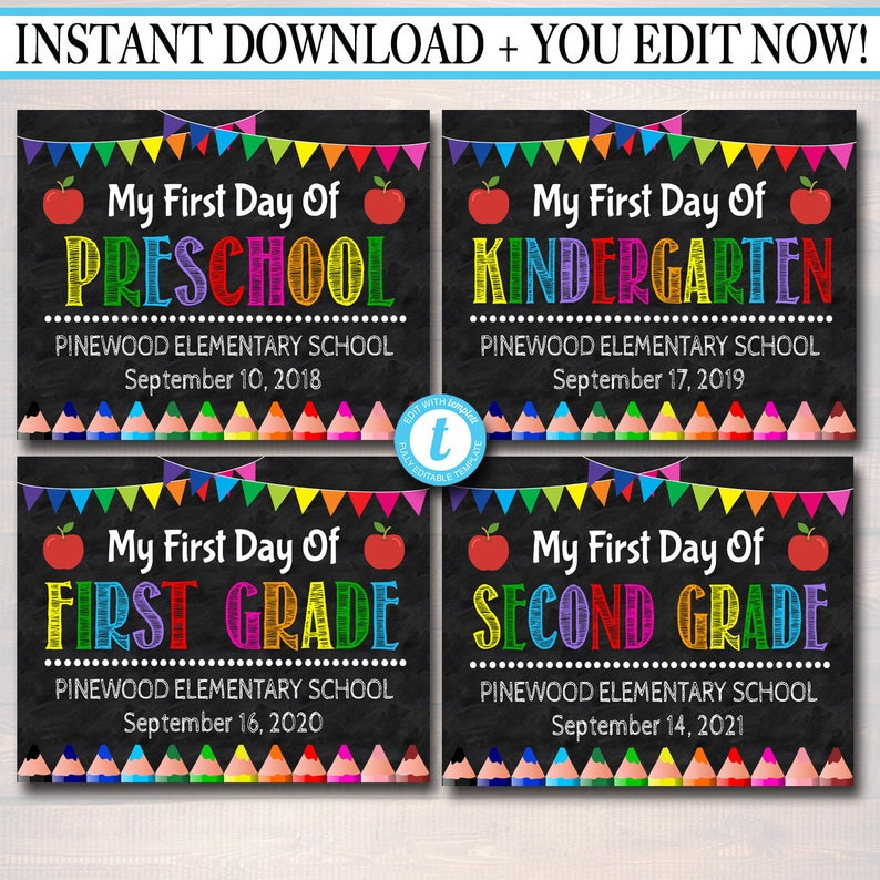 Editable Template Back To School Set First Day Last Day Etsy
