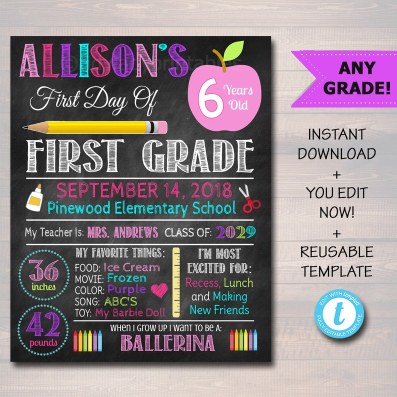 First Day Of School Sign Back to School Chalkboard Poster
