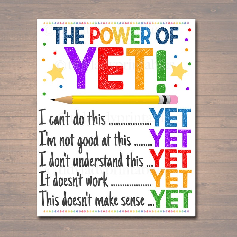 The Power of Yet Printable Poster Growth Mindset INSTANT image 0