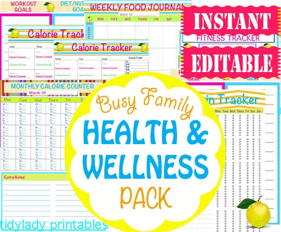 50% OFF! INSTANT and EDITABLE - Workout and Healthy Eating Printables -  Wellness Planner - Home Management Binder - 20 Documents - TL17