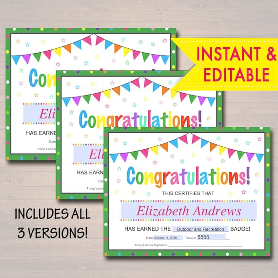Editable Certificates Badge Patch And Award Certificate Etsy