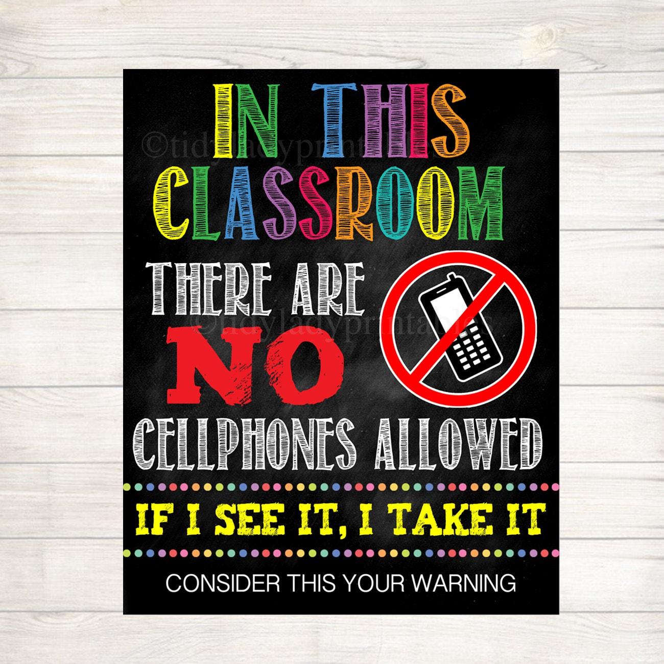 no cellphones allowed school poster classroom decor