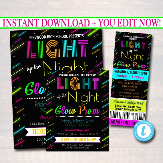 editable prom ticket invite flyer set school dance digital etsy