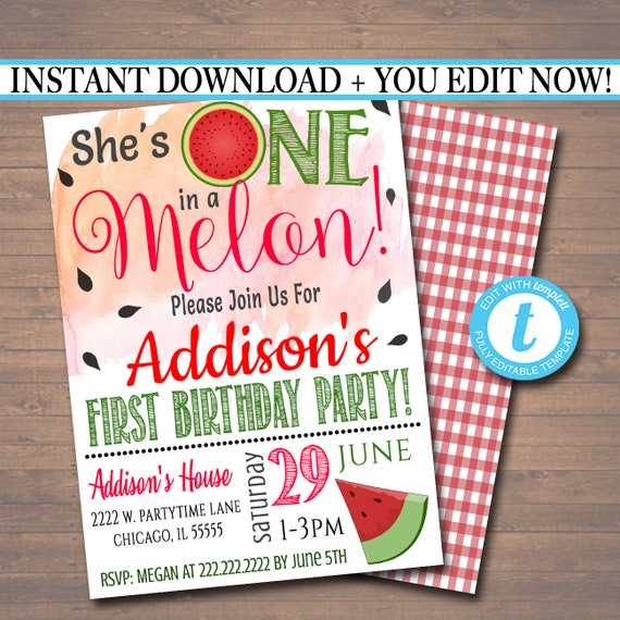 EDITABLE One In A Melon Party Birthday Invitation Girls First