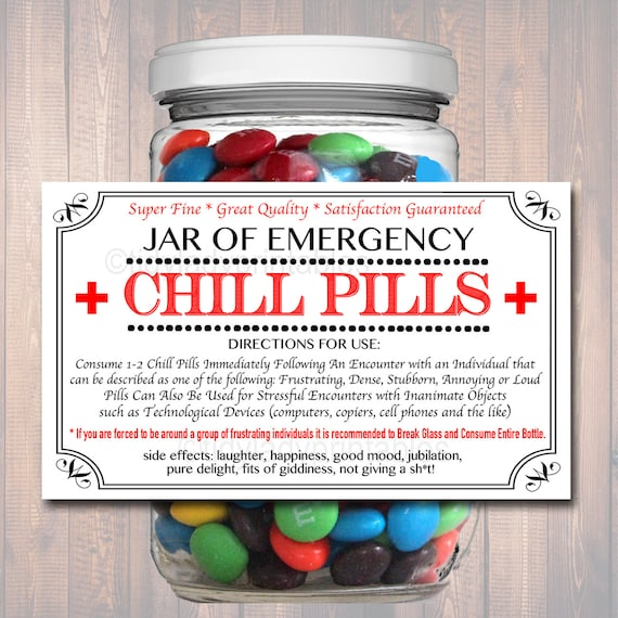 chill pills label funny nurse gag gift professional office | etsy