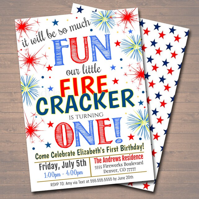 EDITABLE Fourth Of July First Birthday Party Red White Blue Picnic Bday Invitation So Much Fun Firecracker Is Turning One INSTANT DOWNLOAD