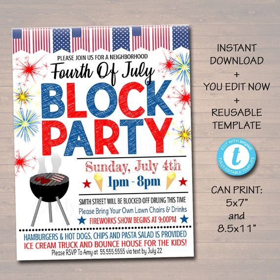 EDITABLE Patriotic Neighborhood Block Party Invite Printable Bbq