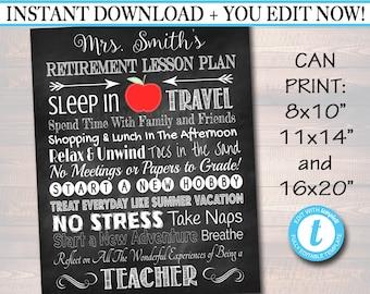 EDITABLE Teacher Retirement Gift, Chalkboard Printable Teacher Poster Sign, Retirement Gift, Teacher Lesson Plan, Teacher Appreciation Gifts