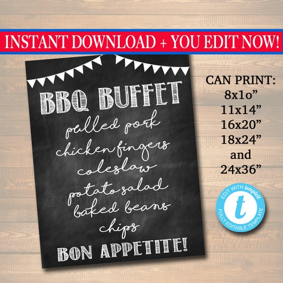 editable bbq menu sign chalkboard sign party decor barbecue etsy