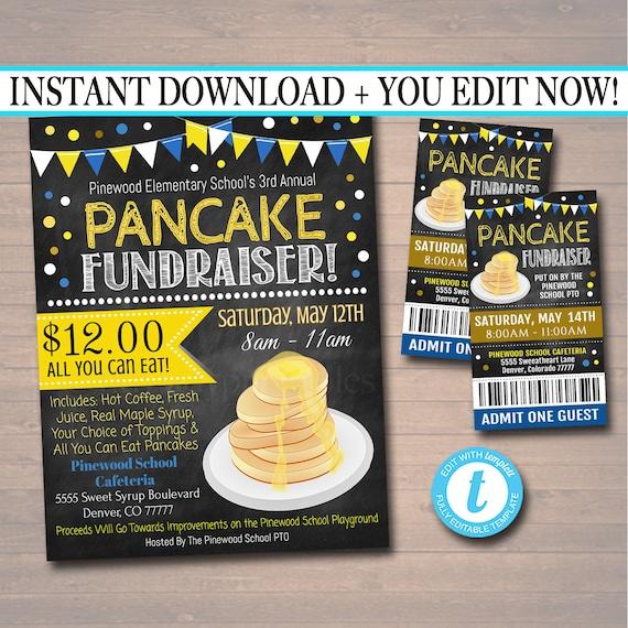 editable pancake breakfast fundraiser flyer ticket set pto