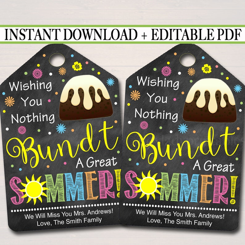 image relating to Nothing Bundt Cakes Coupons Printable titled EDITABLE Bundt Cake Present Tags, Close of University Workers Trainer Volunteer Reward, Printable Cake Label Wishing On your own a Perfect Summertime, Fast Down load