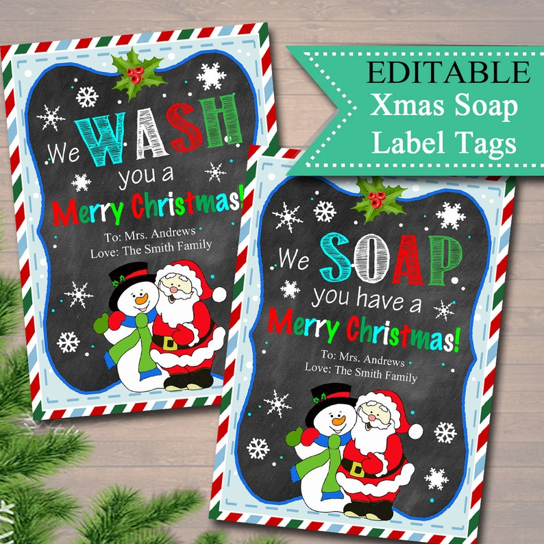 EDITABLE Christmas Soap Tags Printable Holiday Soap Labels image 0