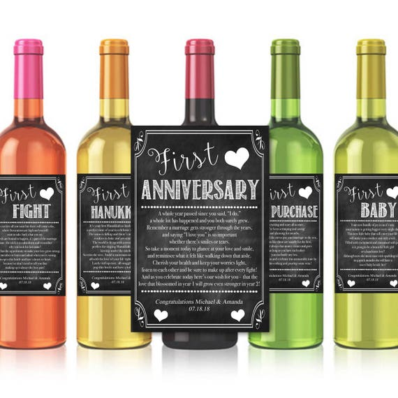 Wine Firsts Wedding Gift: EDITABLE Jewish Marriage Firsts Wine Labels Printable Wine