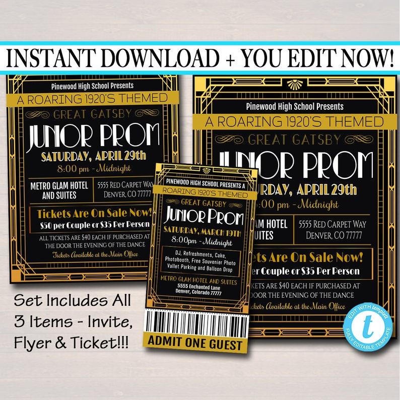Ticket Roaring 1920/'s Great Gatsby Themed High School Event EDITABLE Prom Set School Dance Flyer Invitation pta INSTANT DOWNLOAD pto