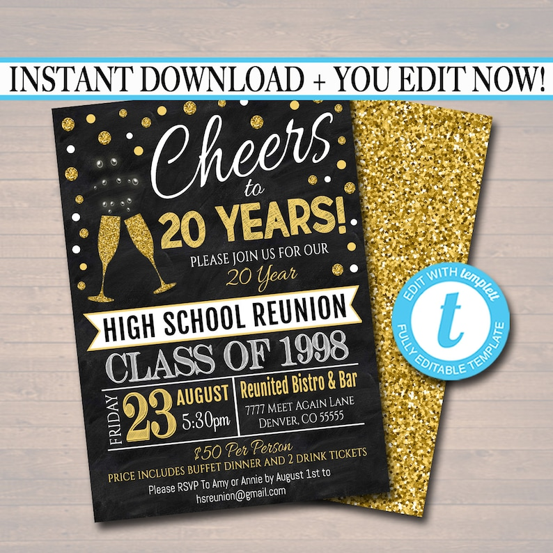 Editable Class Reunion Invitation Template Any Year College Reunion High School Reunion Party Lights Faux Chalkboard INSTANT DOWNLOAD