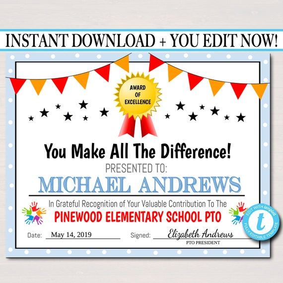EDITABLE PTO PTA Certificate, Printable Handout, School Banquet Fundraiser, Event of Year Volunteer Award, Member Recognition of Excellence