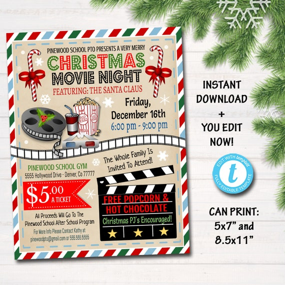 Editable Christmas Movie Night Flyer Printable Pta Pto Flyer Xmas School Church Benefit Fundraiser Event Poster Digital Cinema Party Invite