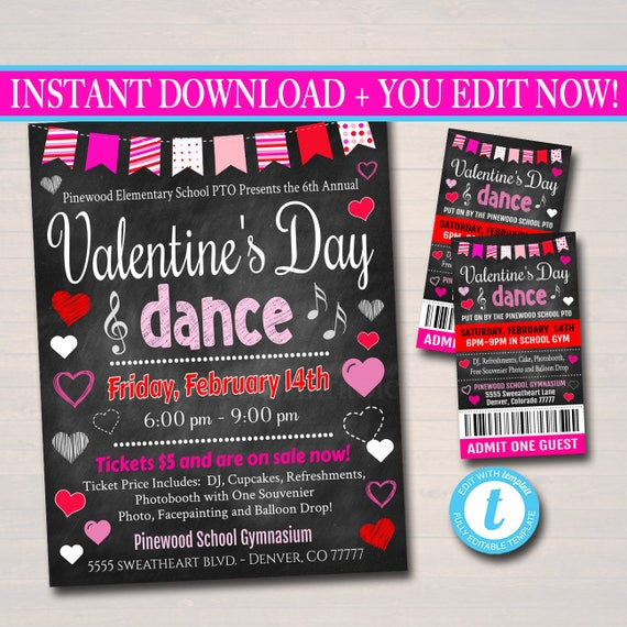 EDITABLE Valentine's Day Dance Set School Dance Flyer