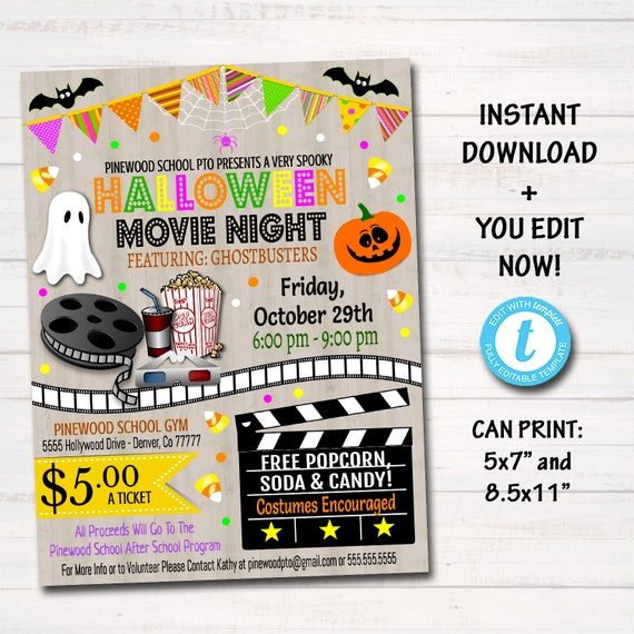EDITABLE Halloween Movie Night Flyer, Printable PTA PTO