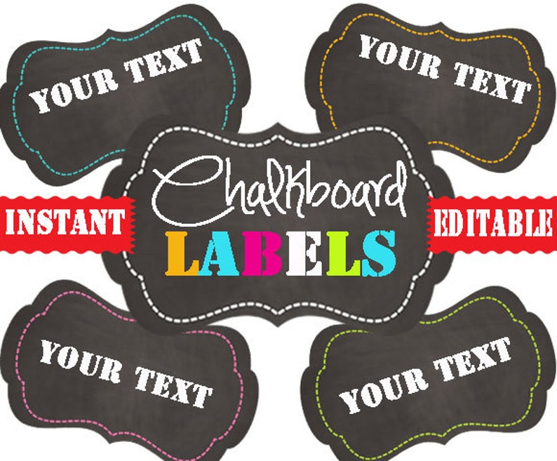 graphic regarding Printable Chalkboard Labels referred to as Chalkboard Labels -Printable Labels - Immediate and EDITABLE - Pantry Labels, Lavatory Labels, Business Labels, Enterprise Tags
