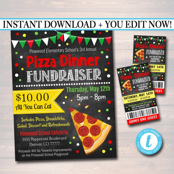 editable pizza dinner fundraiser flyer ticket set pto pta etsy