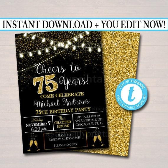 Editable 75th Party Invitation Birthday Printable Cheers To Etsy