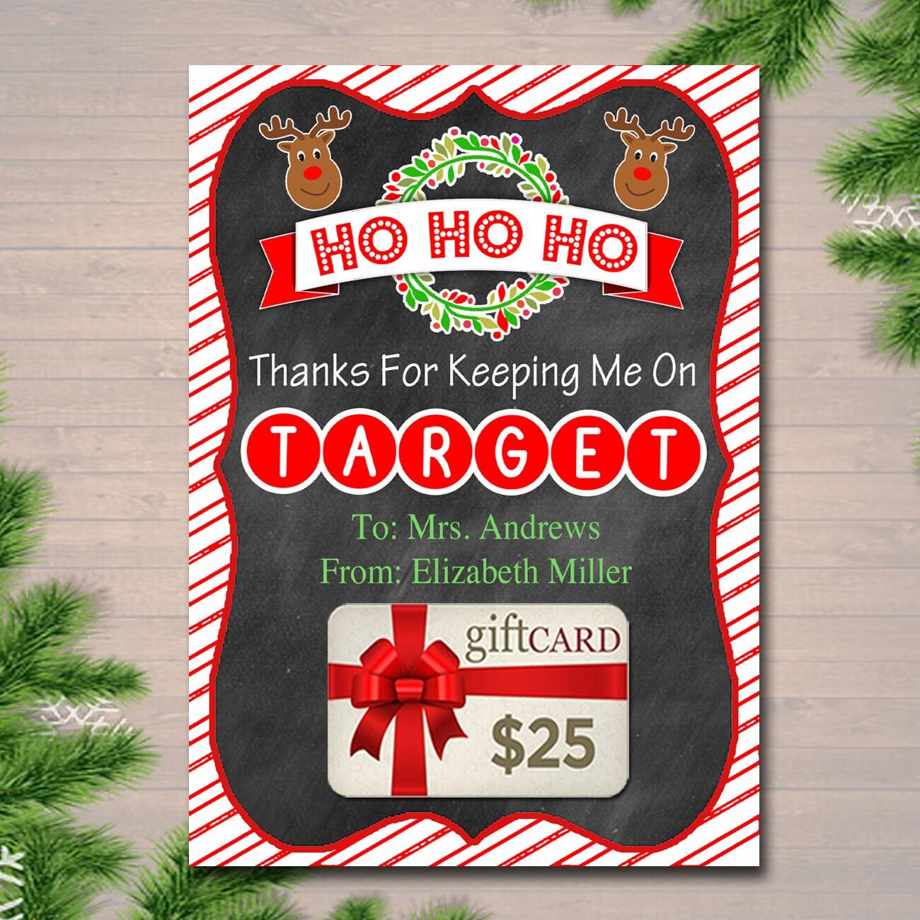 EDITABLE Christmas Target Gift Card Holder Printable Teacher   Etsy