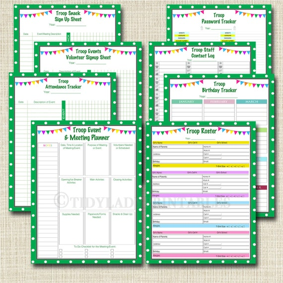 Organizing Binder Kit INSTANT DOWNLOAD Troop Leader Forms Etsy