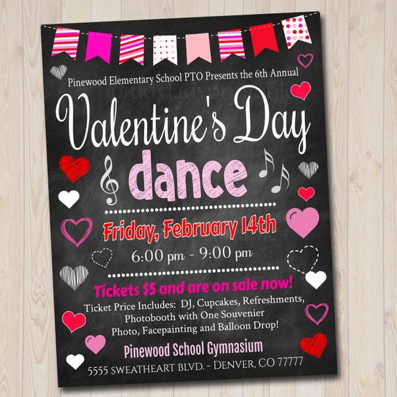 Editable Valentine S Day Dance Set School Dance Flyer Etsy