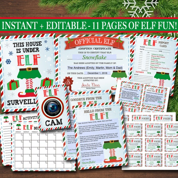 Elf Activity Kit Christmas Printables Elf Adoption Goodbye