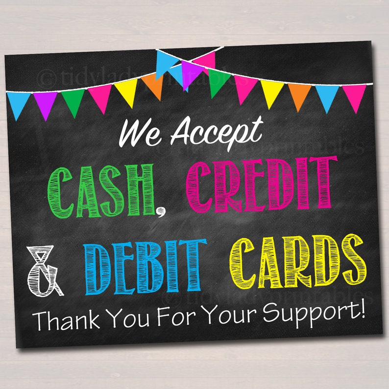 graphic about We Accept Credit Cards Printable Sign referred to as PRINTABLE Credit history Card Indicator, Fundraising Booth, Bake Sale, Cookie Booth Indicator We Take Credit score Playing cards Scouts Cookie Banner, Cookie Booth Poster