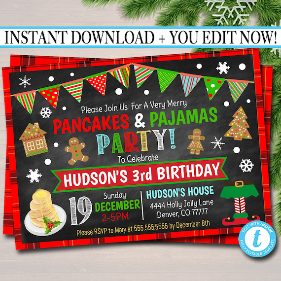 Christmas Birthday Party Invitations.Editable Pancakes And Pajamas Xmas Party Invitation Kids