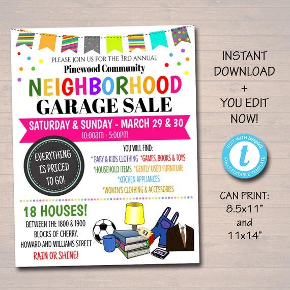 Awesome Editable Garage Sale Flyer Printable Pta Pto Flyer School Church Fundraiser Neighborhood Rummage Sale Event Poster Digital Printable Inzonedesignstudio Interior Chair Design Inzonedesignstudiocom